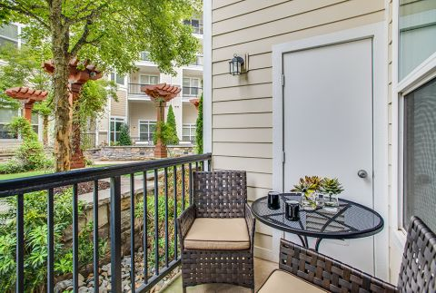 Beautiful Patio Space at Camden Dulles Station Apartments in Herndon, VA