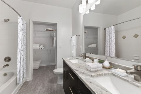 Double sink bathroom at Camden Dulles Station Apartments in Herndon, VA
