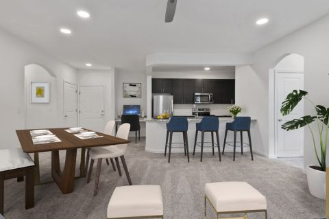 Kitchen and dining area at Camden Dulles Station Apartments in Herndon, VA