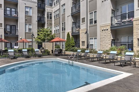 Pool with Sundeck at Camden Fairfax Corner Apartments in Fairfax, VA