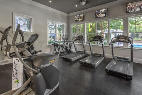 Cardio Equipment in Fitness Center at Camden Fallsgrove Apartments in Rockville, MD