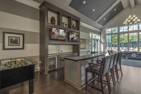 Resident Lounge with Kitchen at Camden Fallsgrove Apartments in Rockville, MD