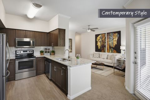 Contemporary Kitchen and Living at Camden Farmers Market Apartments in Dallas, TX