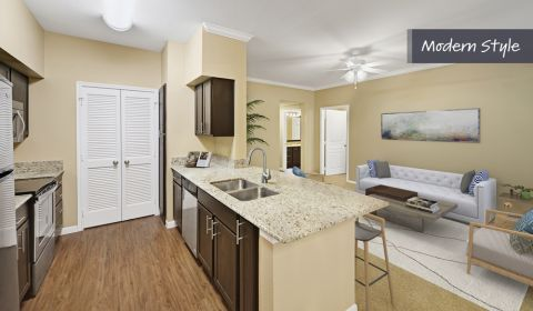 Modern Style Kitchen and Living Room at Camden Farmers Market Apartments in Dallas, TX