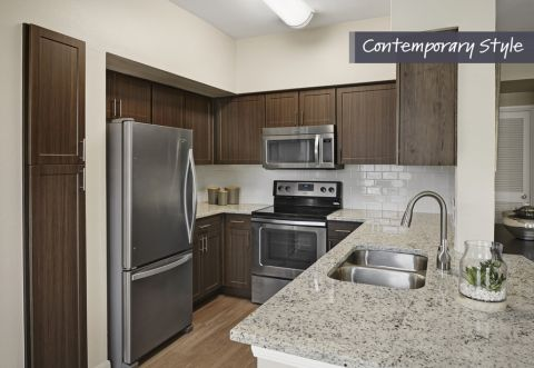 Contemporary Style Subway Tile Backsplash at Camden Farmers Market Apartments in Dallas, TX