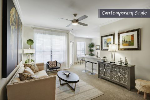 Contemporary Style Living Room Open Concept Layout at Camden Farmers Market Apartments in Dallas, TX