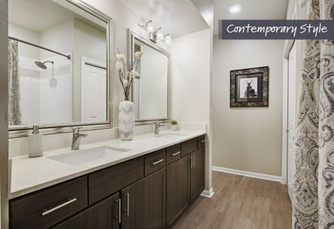Bathroom with White Quartz Countertops at Camden Farmers Market Apartments in Dallas, TX