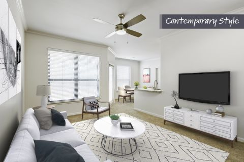 Contemporary Style Living Room at Camden Farmers Market Apartments in Dallas, TX