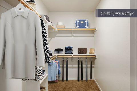 Contemporary Style Walk-In Closet at Camden Farmers Market Apartments in Dallas, TX