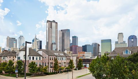 View of Dallas Skyline during Daytime at Camden Farmers Market Apartments in Dallas, TX
