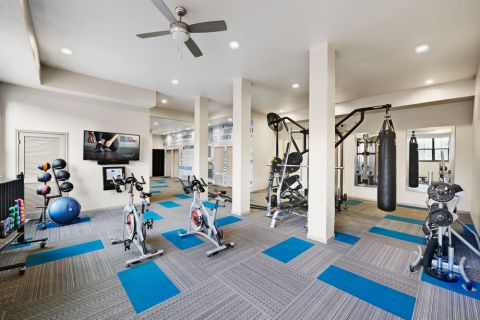 Fitness Center with on-demand virtual trainer at Camden Farmers Market Apartments in Dallas, TX