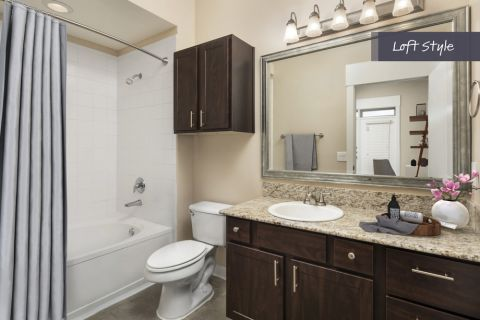Loft Style Bathroom at Camden Farmers Market Apartments in Dallas, TX