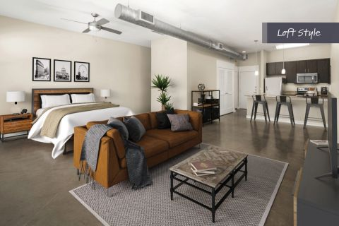 Loft Style Living Room and Bedroom at Camden Farmers Market Apartments in Dallas, TX