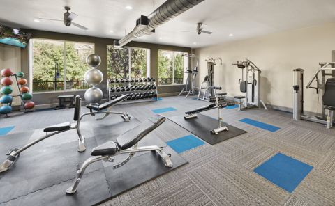 Fitness Center with free weights at Camden Farmers Market Apartments in Dallas, TX