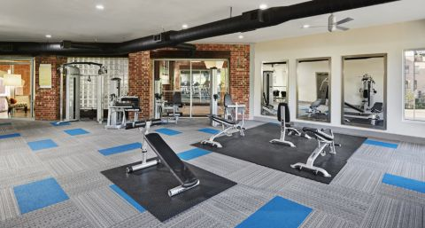 Large Fitness Center at Camden Farmers Market Apartments in Dallas, TX