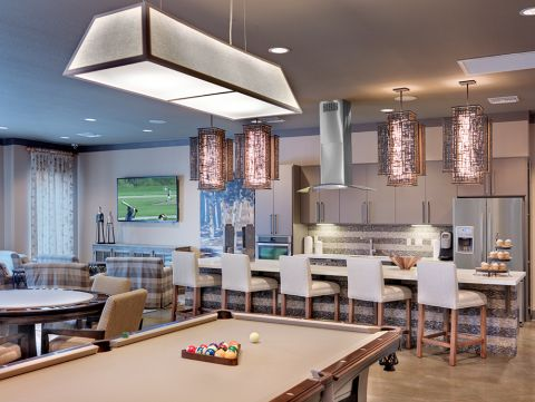 Resident Lounge with Billiards Table at Camden Flatirons Apartments in Interlocken, CO