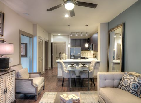 Living Room and Kitchen at Camden Flatirons Apartments in Interlocken, CO