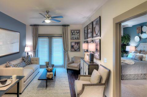 Living room at Camden Flatirons Apartments in Interlocken, CO