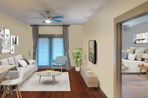 Spacious living room at Camden Flatirons Apartments in Interlocken, CO