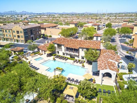 Aerial view of the pool at Camden Foothills Apartments in Scottsdale, AZ