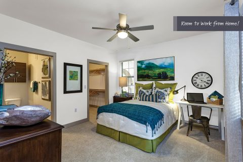 Bedroom with room to work from home at Camden Foothills Apartments in Scottsdale, AZ