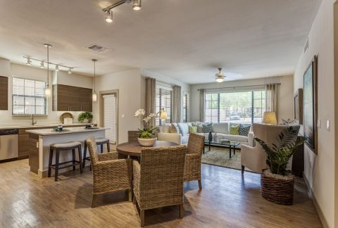 Open-Concept Living Area at Camden Foothills Apartments in Scottsdale, AZ
