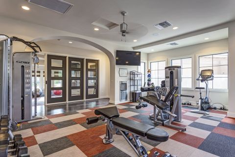 Fitness Center with Strength Training Equipment at Camden Foothills Apartments in Scottsdale, AZ