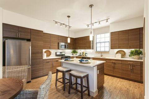 Kitchen with Large Center Island at Camden Foothills Apartments in Scottsdale, AZ