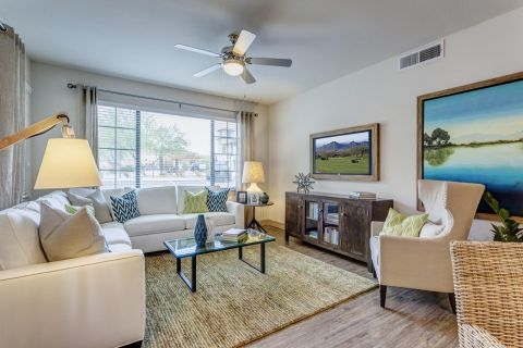 Living Room at Camden Foothills Apartments in Scottsdale, AZ