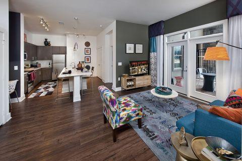 Living Room Open Concept at Camden Fourth Ward Apartments in Atlanta, GA
