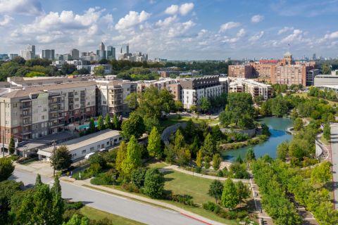 Exterior and Skyline Views at Camden Fourth Ward Apartments in Atlanta, GA