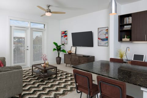 Living Room at Camden Fourth Ward Apartments in Atlanta, GA