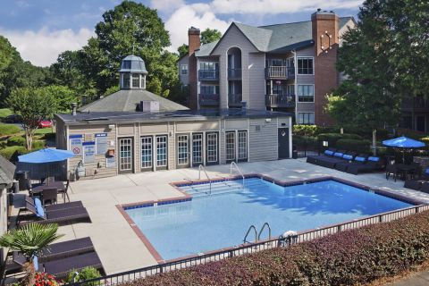 Aerial view of second pool at Camden Foxcroft in Charlotte, North Carolina