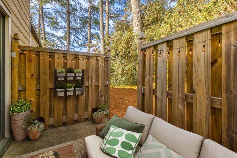Private, fenced patio at Camden Foxcroft in Charlotte, North Carolina