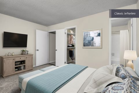 Bedroom with walk-in closet at Camden Foxcroft in Charlotte, North Carolina