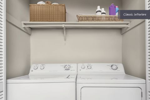 Laundry room at Camden Foxcroft in Charlotte, North Carolina