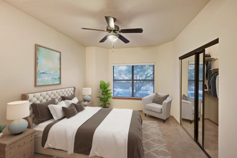 Spacious bedroom at Camden Gaines Ranch Apartments in Austin, TX