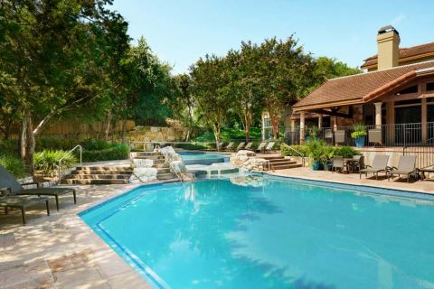 Pool and Welcome Center at Camden Gaines Ranch Apartments in Austin, TX