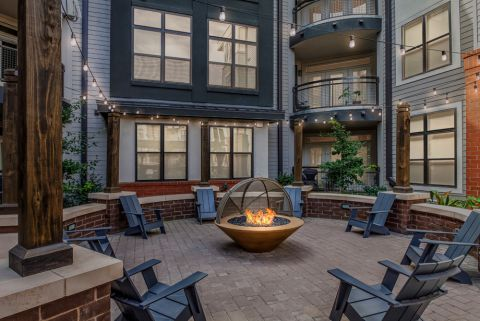 Outdoor Fireside Lounge at Camden Gallery Apartments in Charlotte, NC