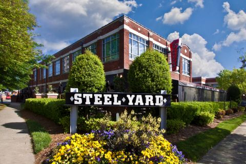 Nearby steel yard at Camden Gallery Apartments in Charlotte, NC