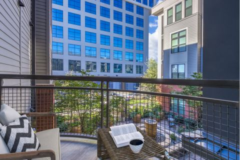 Balcony overlooking courtyard at Camden Gallery Apartments in Charlotte, NC