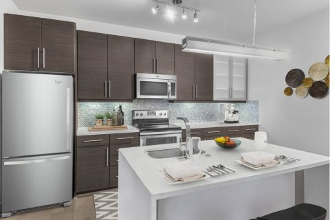 Kitchen with island at Camden Gallery Apartments in Charlotte, NC