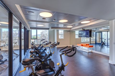 Spin Bikes with Virtual Training Equipment at Camden Glendale Apartments in Glendale, CA