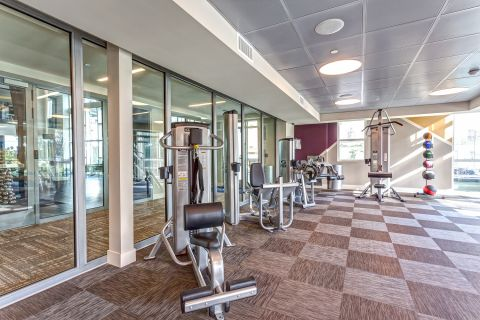 Fitness Center with Weight Training Equipment at Camden Glendale Apartments in Glendale, CA