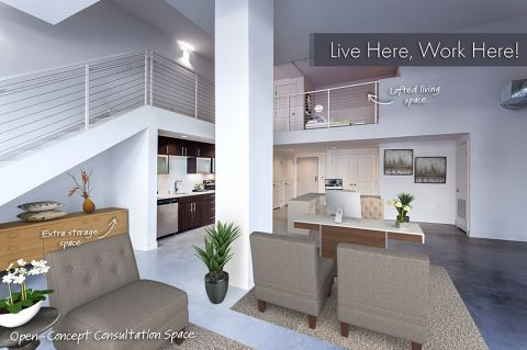 Live Work Apartment with Lofted Living Areas and 16-Foot Ceilings at Camden Glendale Apartments in Glendale, CA