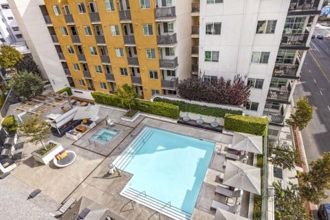 Aerial Shot of Resort-Style Pool at Camden Glendale Apartments in Glendale, CA