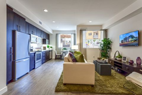 Kitchen, Dining, and Living Room in Studio Floor Plan at Camden Glendale Apartments in Glendale, CA