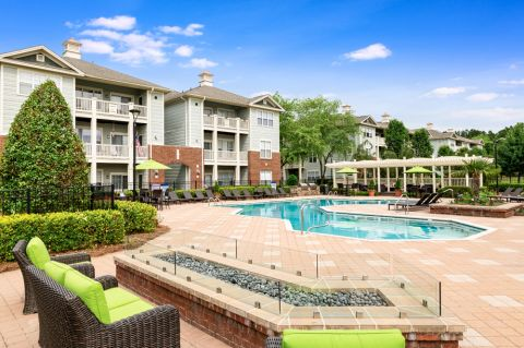 Pool and Outdoor Fireplace at Camden Governors Village Apartments in Chapel Hill, NC