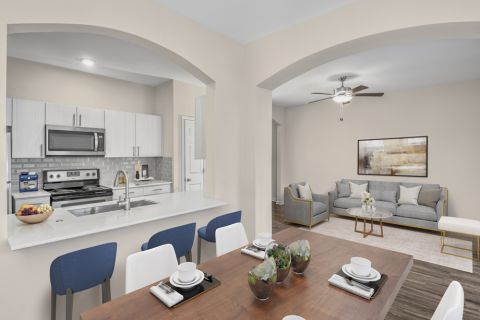 Dining and living room at Camden Governors Village Apartments in Chapel Hill, NC