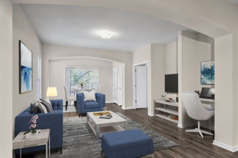 Living room and built in desk at Camden Governors Village Apartments in Chapel Hill, NC